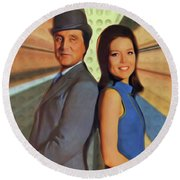 Patrick Macnee And Diana Rigg, The Avengers Round Beach Towel