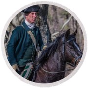 Patriot On Horse At Tower Park Battle Round Beach Towel