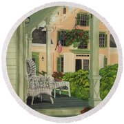 Patriotic Country Porch Round Beach Towel