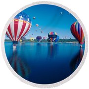 Patriotic Hot Air Balloon Round Beach Towel