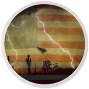 Patriotic Operation Desert Storm Round Beach Towel