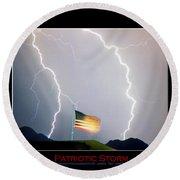 Patriotic Storm - Poster Print Round Beach Towel