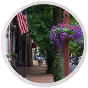 Patriotic Street In Philadelphia Round Beach Towel