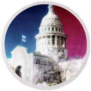 Patriotic Texas Capitol Round Beach Towel