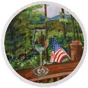 Star Spangled Wine - Fourth Of July - Blue Ridge Mountains Round Beach Towel