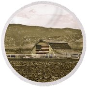 Patriotism And Barn Round Beach Towel