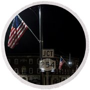 Patriotism In A Small Town Round Beach Towel