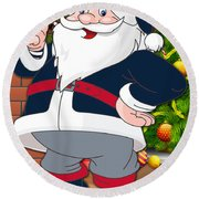 Patriots Santa Claus Round Beach Towel