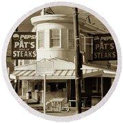 Pat's King Of Steaks - Philadelphia Round Beach Towel