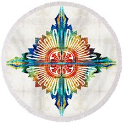 Pattern Art - Color Fusion Design 1 By Sharon Cummings Round Beach Towel