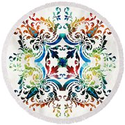 Pattern Art - Color Fusion Design 7 By Sharon Cummings Round Beach Towel