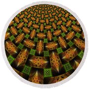 Pattern Brown With Green Round Beach Towel