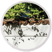 Patterned Sunshine - Ginkgo Shadows On A White Stucco Wall Round Beach Towel