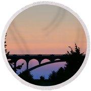 Patterson Bridge Sunrise Round Beach Towel