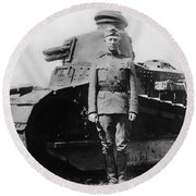 Patton Beside A Renault Tank - Wwi Round Beach Towel