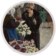 Paul Fischer, 1860-1934, Flower Market In Copenhagen Round Beach Towel