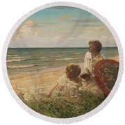 Paul Fischer, 1860-1934, Girls On The Beach Round Beach Towel