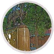 Paul Revere Rides In Boston-massachusetts  Round Beach Towel