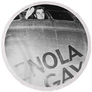 Paul Tibbets In The Enola Gay Round Beach Towel