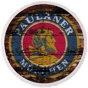 Paulaner Beer Sign  Round Beach Towel