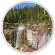 Paulina Creek Falls From The Top Round Beach Towel
