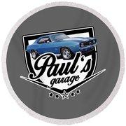 Pauls Garage Camaro Round Beach Towel