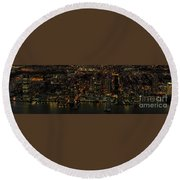 Paulus Hook, Jersey City Aerial Night View Round Beach Towel