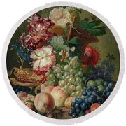 Paulus Theodorus Van Brussel - Still Life Of Flowers And Fruit On A Stone Ledge, Round Beach Towel