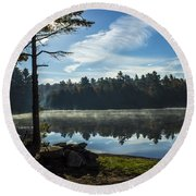 Pauper Lake Morning Round Beach Towel