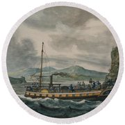 Pavel Petrovich Svinin, 1787 -1839, Steamboat Travel On The Hudson River Round Beach Towel