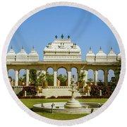 Pavilion And Fountain, Udaipur, India Round Beach Towel