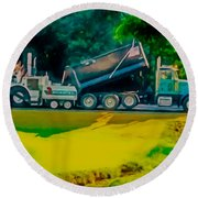Paving Crew 2 Round Beach Towel