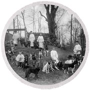Pavlovs Dogs With Their Keepers, 1904 Round Beach Towel