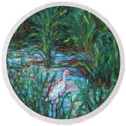 Pawleys Island Egret Round Beach Towel