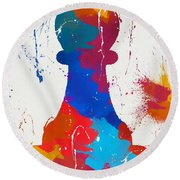 Pawn Chess Piece Paint Splatter Round Beach Towel