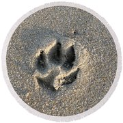 Pawprint In The Sand Round Beach Towel