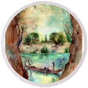 Paysage With A Boat Round Beach Towel