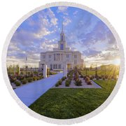 Payson Temple I Round Beach Towel