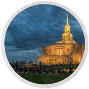 Payson Temple Panorama Round Beach Towel