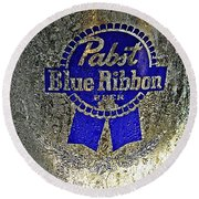Pbr  Bucket O Beer  Round Beach Towel by Chris Berry