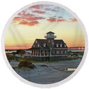 Oregon Inlet Life Saving Station 2687 Pano Signed Round Beach Towel