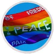 Peace - Paz - Paix Round Beach Towel