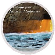Peace And Happiness Round Beach Towel