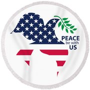 Peace Be With Us Round Beach Towel