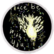Peace Dove Round Beach Towel
