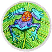 Peace Frog On A Leaf Round Beach Towel