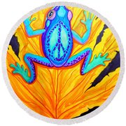 Peace Frog On Fall Leaf Round Beach Towel