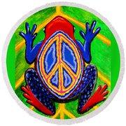 Peace Frog Too Round Beach Towel