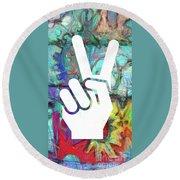 Peace Hand Sign 1  Round Beach Towel