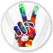 Peace Hippy Paint Hand Sign Round Beach Towel